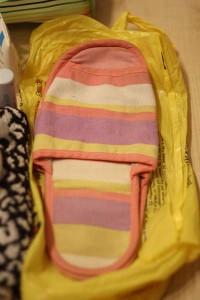 Тапочки из ткани для поездки