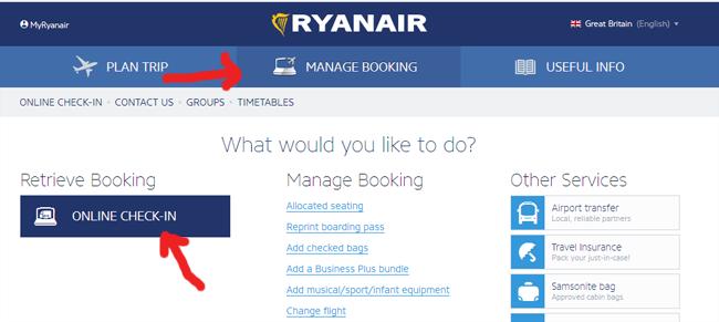 Ryanair регистрация на рейс