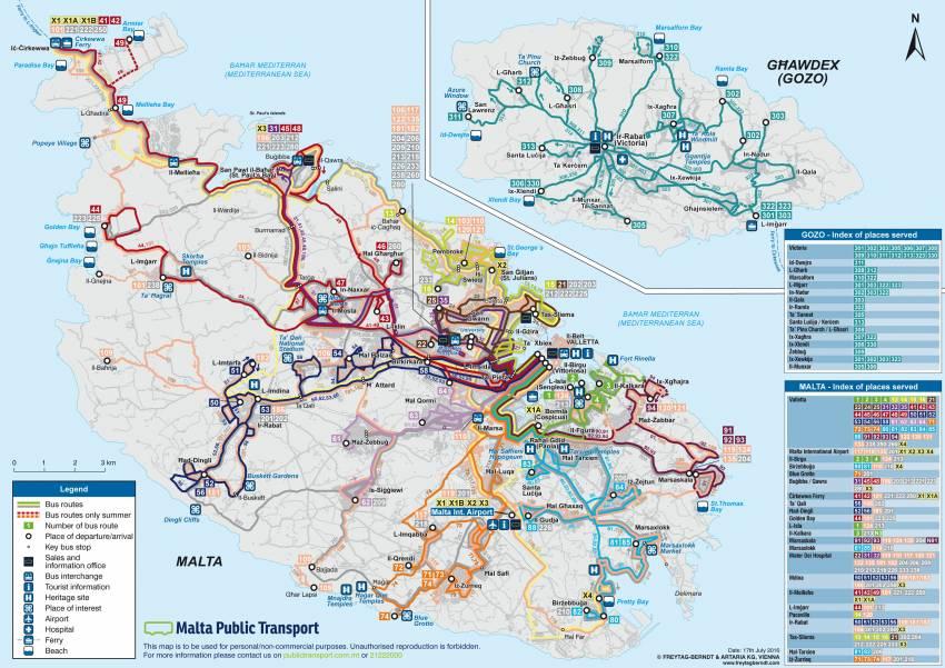 карта транспорта на мальте