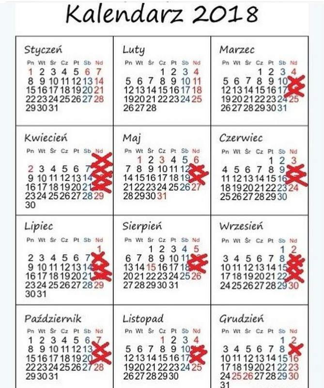 календарь нерабочих воскресений польша 2018